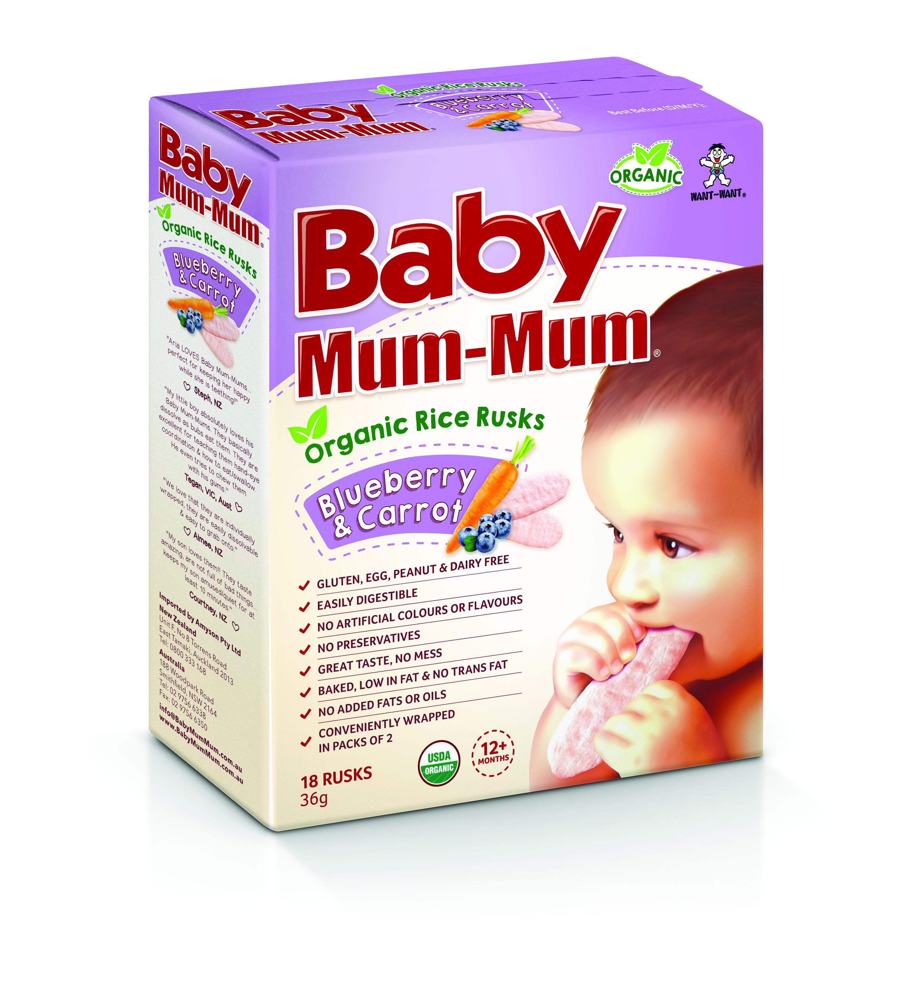 Baby Mum-Mum Organic Rice Rusks Blueberry & Carrot 36g