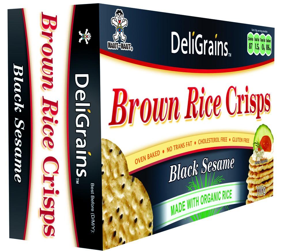 DeliGrains Brown Rice Crisps Black Sesame Seed